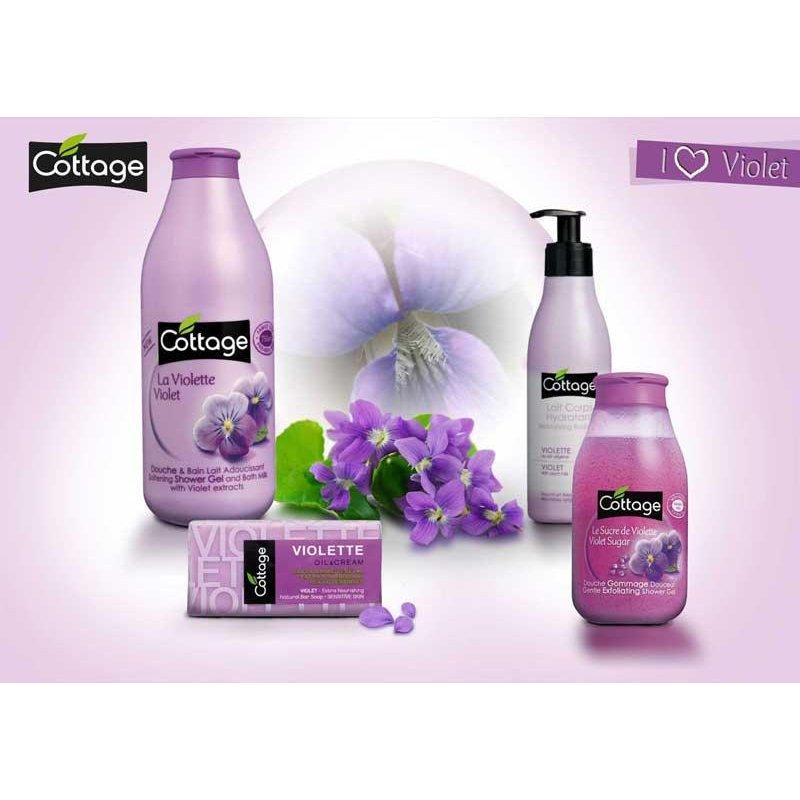 cottage gentle exfoliating shower gel violet sugar 250ml