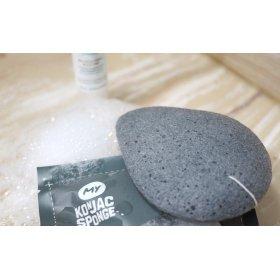 All Natural Fiber Bamboo Charcoal Facial Sponge (Grey)