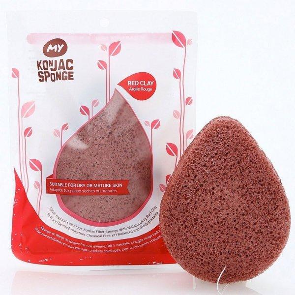 All Natural Fiber Volcanic Scoria Facial Sponge (Red Clay)